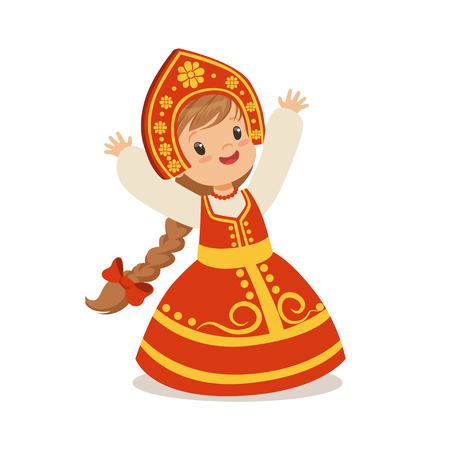 Cute girl wearing red sarafan and kokoshnik, national costume of Russia colorful character vector Illustration