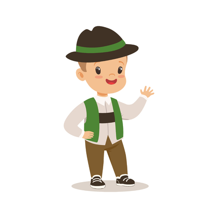 Boy wearing national costume of Germany colorful character vector Illustration Illustration
