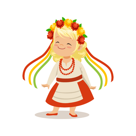 Blonde girl wearing national costume of Ukraine, colorful character vector Illustration Çizim