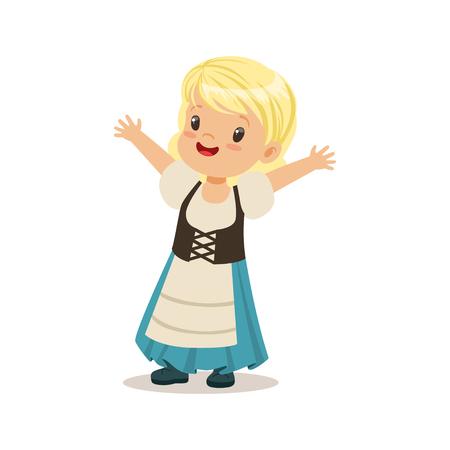 파란색 치마 및 코르 셋, 독일의 국립 의상을 입고 귀여운 소녀 다채로운 문자 벡터 일러스트 스톡 콘텐츠 - 82899251