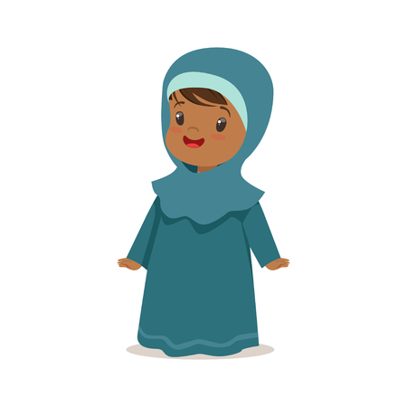 Girl wearing national costume of UAE, islamic woman culture colorful character vector Illustration