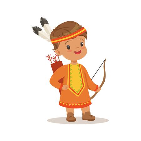 アメリカの国、カラフルな文字ベクトル図のネイティブの民族衣装を身に着けている男の子  イラスト・ベクター素材