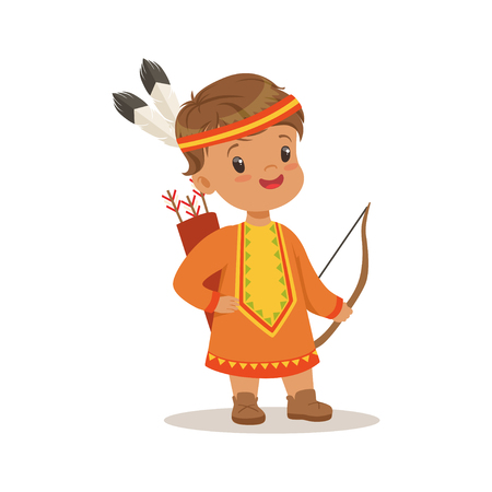 Boy wearing native national costume of American country, colorful character vector Illustration
