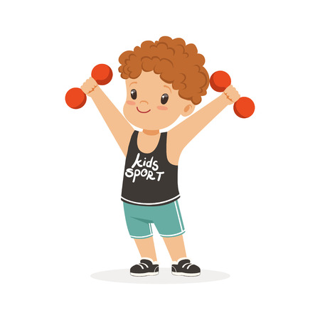 Curly boy exercising with dumbbells, kid doing sports colorful character vector Illustration Illustration