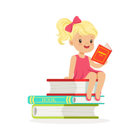 Beautiful blonde girl in pink dress reading a on pile of books, kid enjoying reading, colorful character vector Illustration