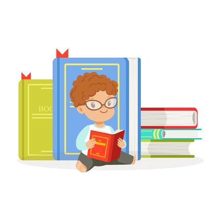 Cute redhead boy reading a book next to a pile of books, kid enjoying reading, colorful character vector Illustration 向量圖像