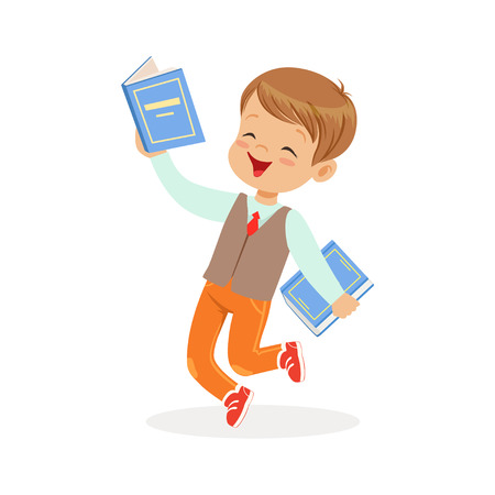 Happy boy running with books, kid enjoying reading, colorful character vector Illustration