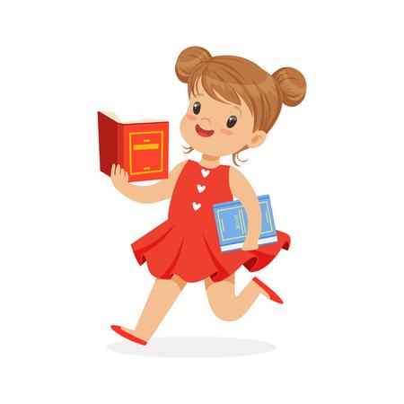 赤いドレスを実行し、カラフルな文字ベクトル図を読んで楽しんで子供の読書の美しい少女  イラスト・ベクター素材