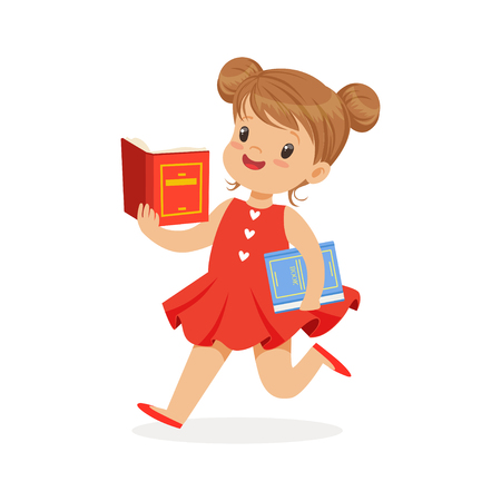 bookworm: Beautiful girl in red dress running and reading a book, kid enjoying reading, colorful character vector Illustration