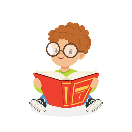 Cute redhead boy wearing glasses reading a book, kid enjoying reading, colorful character vector Illustration Stock fotó - 82899409
