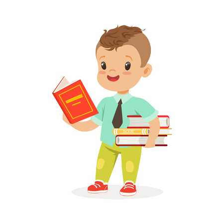 Cute boy reading a book while standing and holding books, kid enjoying reading, colorful character vector Illustration