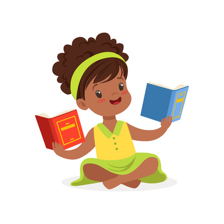 Hermosa niña negra sentada en el piso y leyendo libros, niño disfrutando de la lectura, vector de caracteres coloridos ilustración