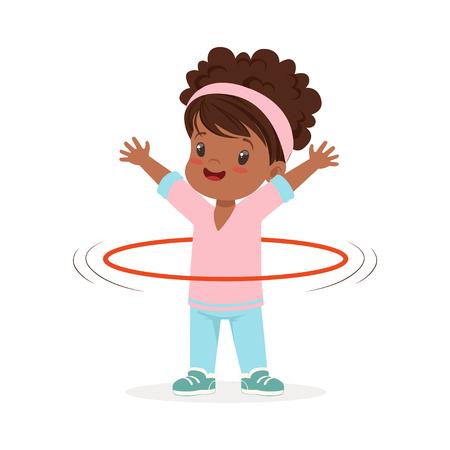 허리, 스포츠를 하 고 아이 주위 훌라 농구대 spining 소녀 다채로운 문자 벡터 일러스트