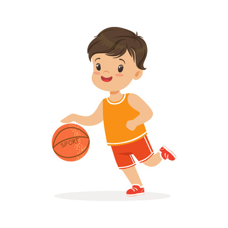 Boy playing basketball, player is moving dribble colorful character vector Illustration