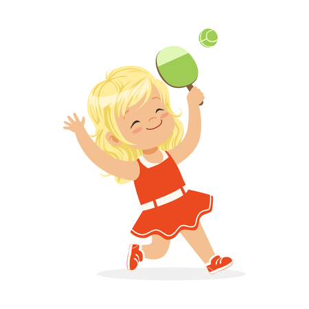 Girl playing table tennis, kid serving tennis table ball with racket colorful character vector Illustration