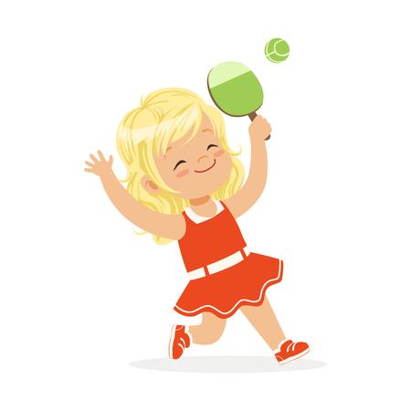 Ragazza che gioca ping-pong, palla servente di ping-pong del bambino con l'illustrazione variopinta di vettore del carattere della racchetta Archivio Fotografico - 82899424
