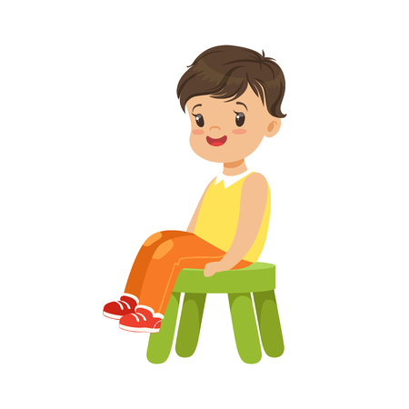 Cute little boy sitting on a small green stool, colorful character Vectores