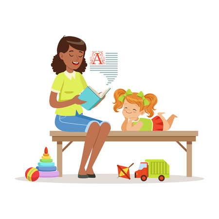 Teacher reading a book to little girl while sitting on a bench, girl enjoy listening, kids education and upbringing in preschool or kindergarten, colorful characters