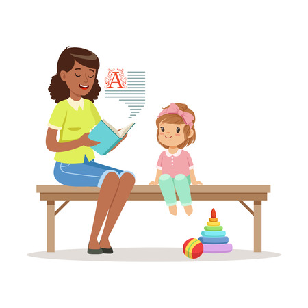 Teacher reading a book to little girl sitting on a bench, kids education and upbringing in preschool or kindergarten, colorful characters