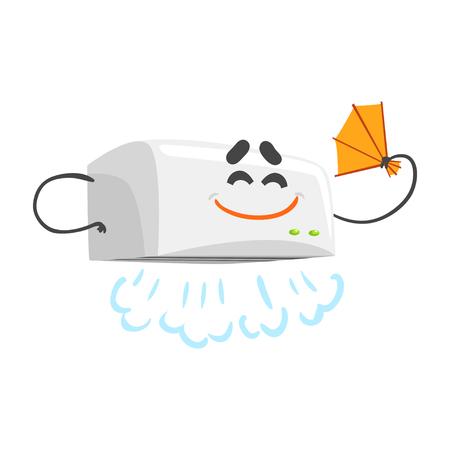 Lovely Lustige Automatische Handtrockner Charakter Mit Lächelnden Gesicht,  Humanisierte Haus Elektrische Geräte Vektor Standard Bild