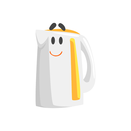 Funny electric kettle character with smiling face, humanized home electrical equipment vector Illustration