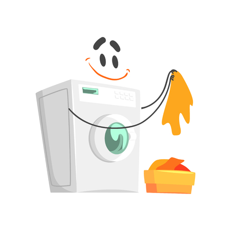 Funny washing machine character with smiling face, humanized home electrical equipment vector Illustration Çizim