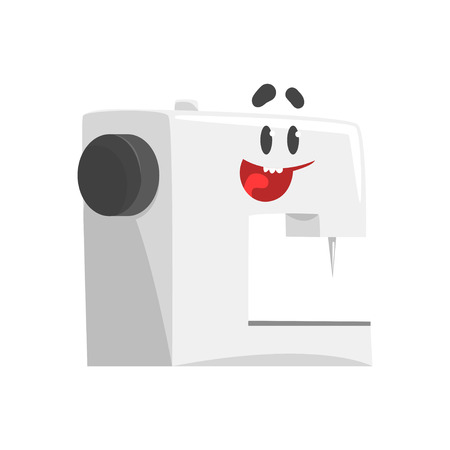 Funny sewing machine character with smiling face, humanized home electrical equipment vector Illustration on a white background Illustration