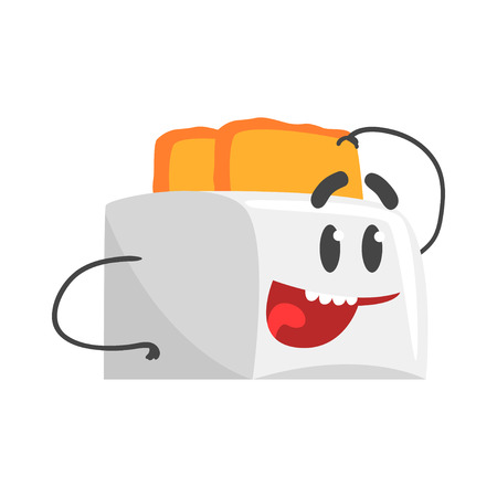 Funny toaster character with smiling face, humanized home electrical equipment vector Illustration on a white background Illustration