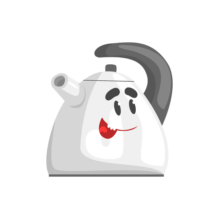 Funny kettle character with smiling face, humanized home electrical equipment vector Illustration on a white background