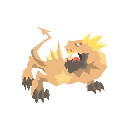 Monstre de dragon, vecteur animal mythique et fantastique Illustration sur fond blanc Banque d'images - 83102096