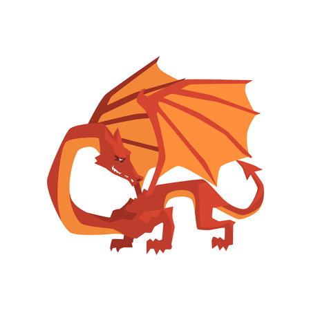 Orange and red dragon, mythical and fantastic animal vector Illustration on a white background Çizim