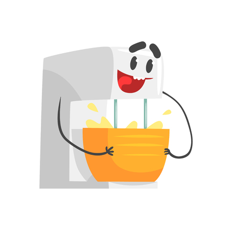 Funny kitchen mixer bowl character with smiling face, humanized home electrical equipment vector Illustration on a white background