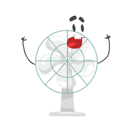 Funny electric fan character with smiling face, humanized home electrical equipment vector Illustration on a white background
