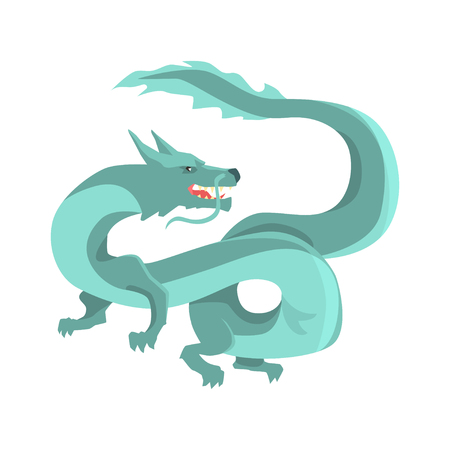 Legendary blue chinese dragon, mythical and fantastic animal vector Illustration on a white background