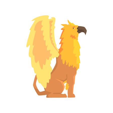 Legendarische griffioen monster, mythische en fantastische dieren vector illustratie op een witte achtergrond