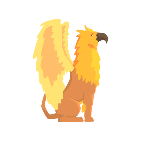 Legendary griffin monster, mythical and fantastic animal vector Illustration on a white background