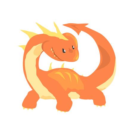 오렌지 드래곤, 신화 및 환상적인 동물 벡터 일러스트 흰색 배경에 일러스트