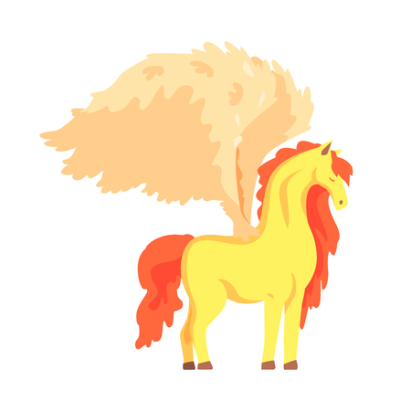 Beautiful pegasus winged horse, mythical and fantastic animal vector Illustration