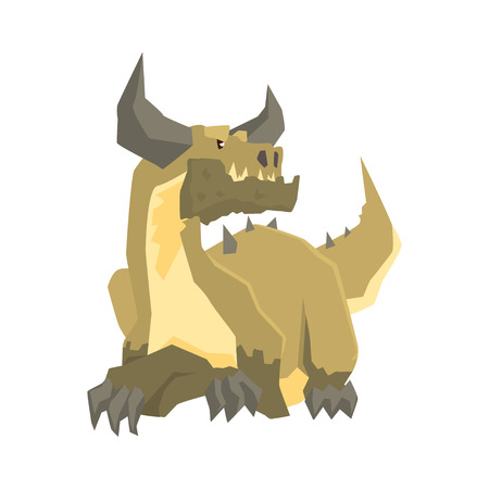Horned dragon monster, mythical and fantastic animal vector Illustration