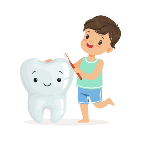Smiling boy brushing a big smiling toorh with a brush, cute cartoon characters vector Illustration on a white background Illustration