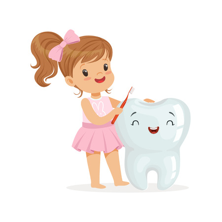 Beautiful girl brushing a big smiling tooth with a brush, cute cartoon characters vector Illustration on a white background Vettoriali