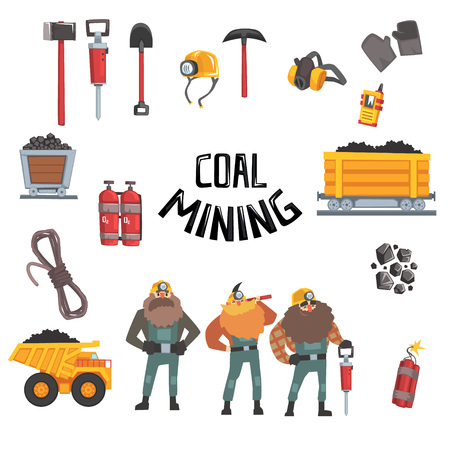 Kolenmijnbouw ingesteld, werkende mijnwerkers, transport, mijnwerkersapparatuur en gereedschappen vector illustratie geïsoleerd op een witte achtergrond