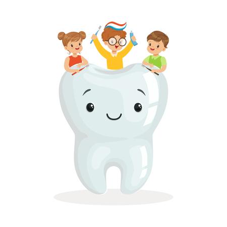 Die glücklichen Kinder, die auf großen lächelnden toorh netten Zeichentrickfilm-Figuren sitzen, vector Illustration auf einem weißen Hintergrund Standard-Bild - 83102267