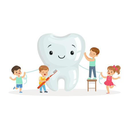 Happy kids cleaning a big tooth with a brush and dental floss, cute cartoon characters vector Illustration on a white background Vettoriali