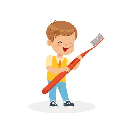Glimlachende jongen die zich met grote tandenborstel, de leuke vectorillustratie van het beeldverhaalkarakter op een witte achtergrond bevinden