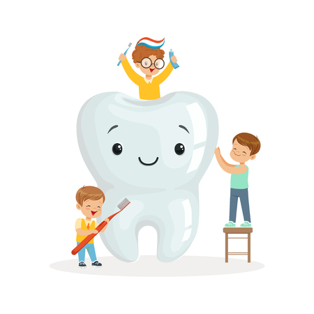 Happy kids brushing a big toorh with a brush and toothpaste, cute cartoon characters vector Illustration on a white background