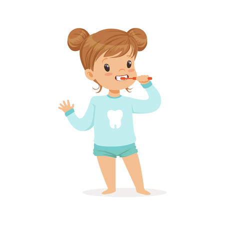 Adorable cartoon girl brushing her teeth, kids dental care vector Illustration on a white background