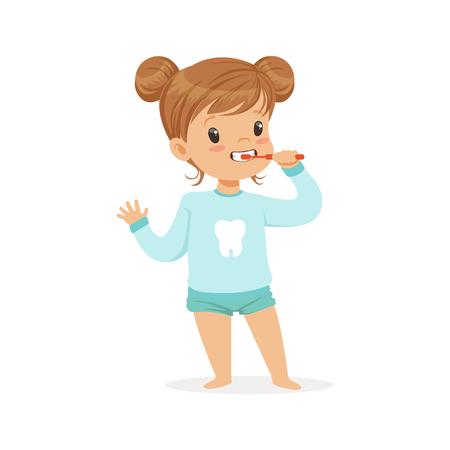 Adorable cartoon girl brushing her teeth, kids dental care vector Illustration on a white background