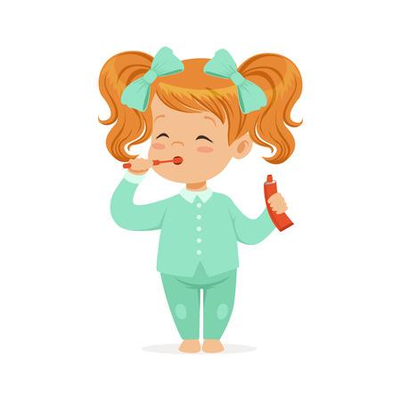 그녀의 이빨, 아이 치과 치료 칫 솔과 연한 파랑 잠 옷에 아름 다운 만화 빨간 머리 소녀 흰색 배경에
