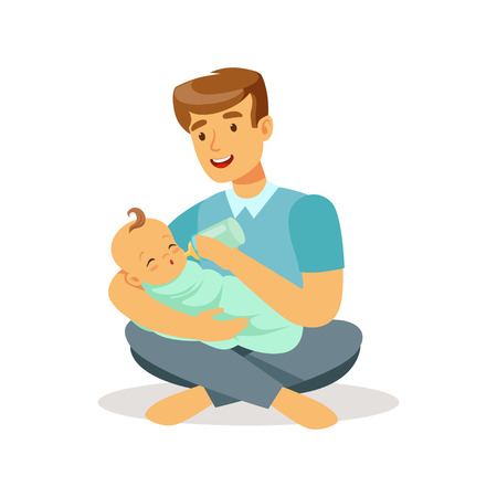 Happy father sitting on the floor with his baby and feeding it with milk bottle colorful vector Illustration Ilustração